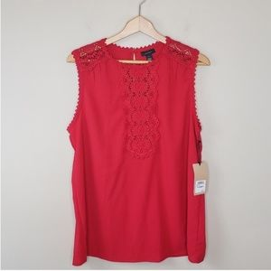 NWT Halogen | Red Crochet Lace Tank Blouse